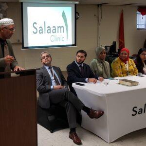 Imam Sabir of Masjid Bilal addressing audience at Salaam Clinic Grand Opening