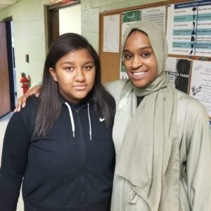 Ms. Meeca East and friend at Salaam Clinic Grand Opening