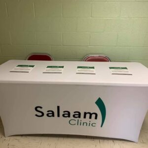 Salaam Clinic Soft Opening Display Table